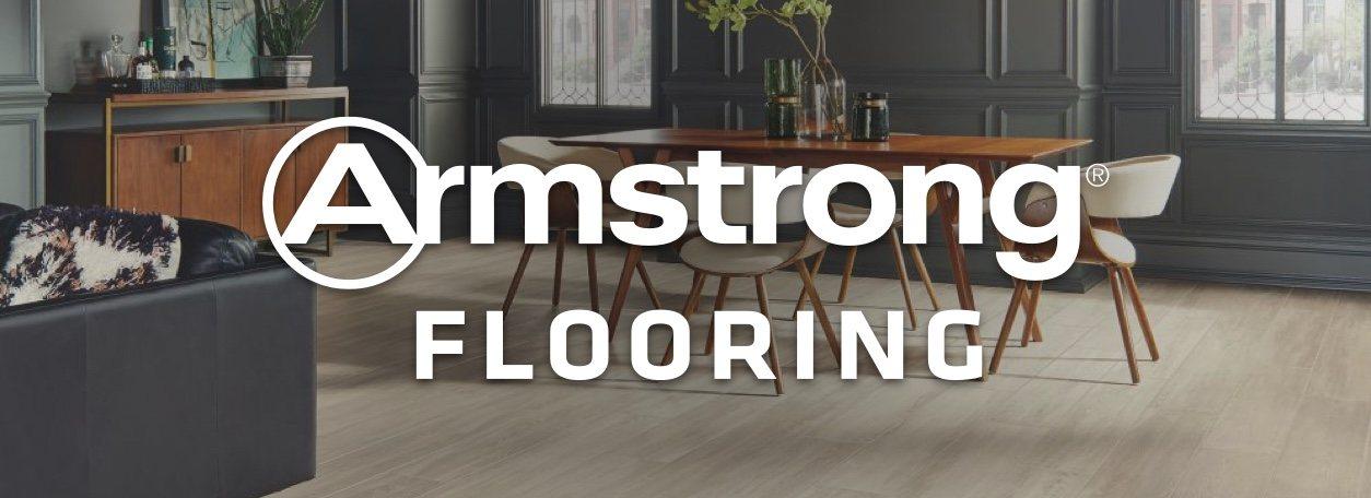 Armstrong Flooring logo with wood flooring in home in background