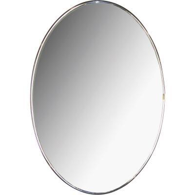 Erias Home Designs Elmvale 15 In. W. x 22 In. H. Chrome Mylar Flat Edge Oval Wall Mirror