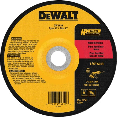 DeWalt HP Type 27 7 In. x 1/4 In. x 7/8 In. Metal Grinding Cut-Off Wheel