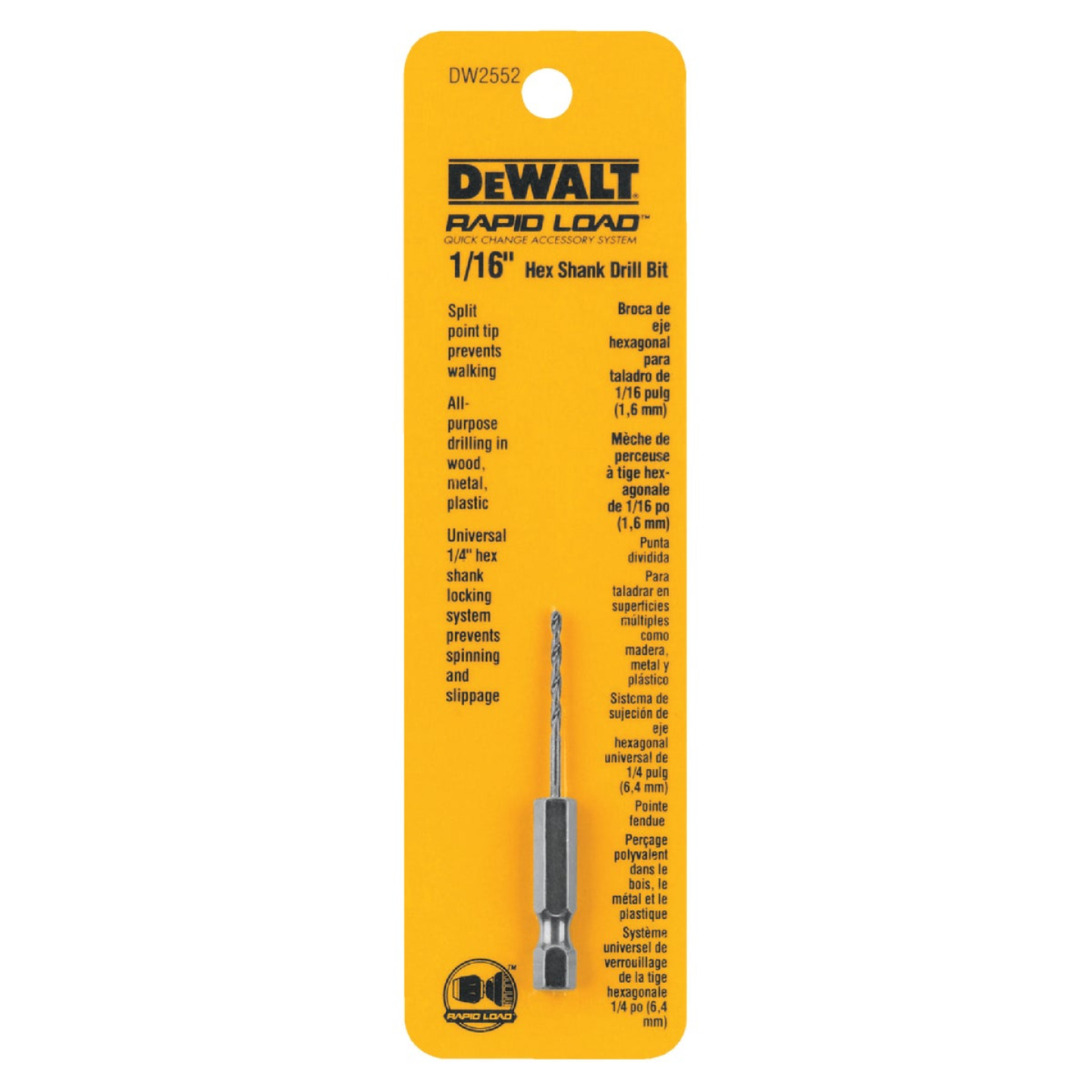 DeWalt Rapid Load 1/16 In. Black Oxide Hex Shank Drill Bit Image 1