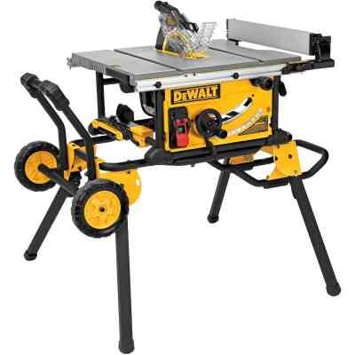 DeWalt 15A 10 In. Compact Job Site Table Saw with Rolling Stand