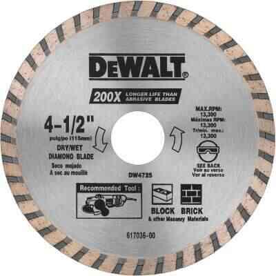 DeWalt High Performance 4-1/2 In. Turbo Rim Dry/Wet Cut Diamond Blade