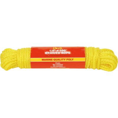 Do it 1/4 In. x 100 Ft. Yellow Braided Polypropylene Packaged Rope
