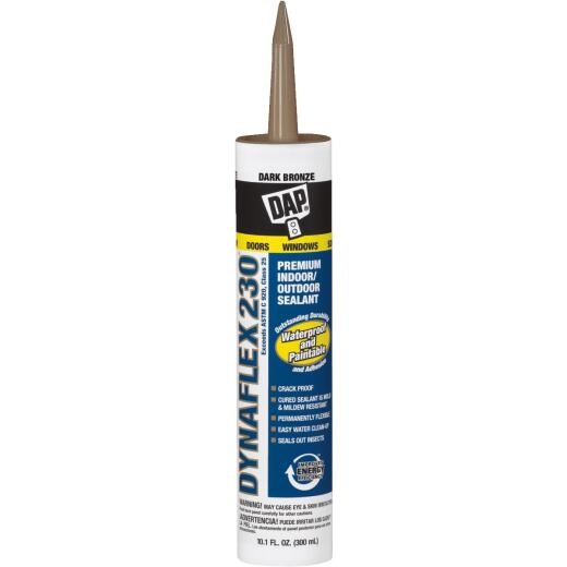 DAP DYNAFLEX 230 10.1 Oz. 100% Waterproof Window, Door, Siding & Trim Elastomeric Sealant, Dark Bronze