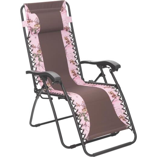 Outdoor Expressions RealTree Zero Gravity Relaxer Pink/Brown Camo Convertible Lounge Chair